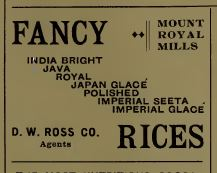 Rice Varieties advertised in The Canadian Grocer 1898.