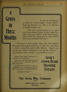 Ad for Crown Brand extracts in the Canadian Grocer 1898